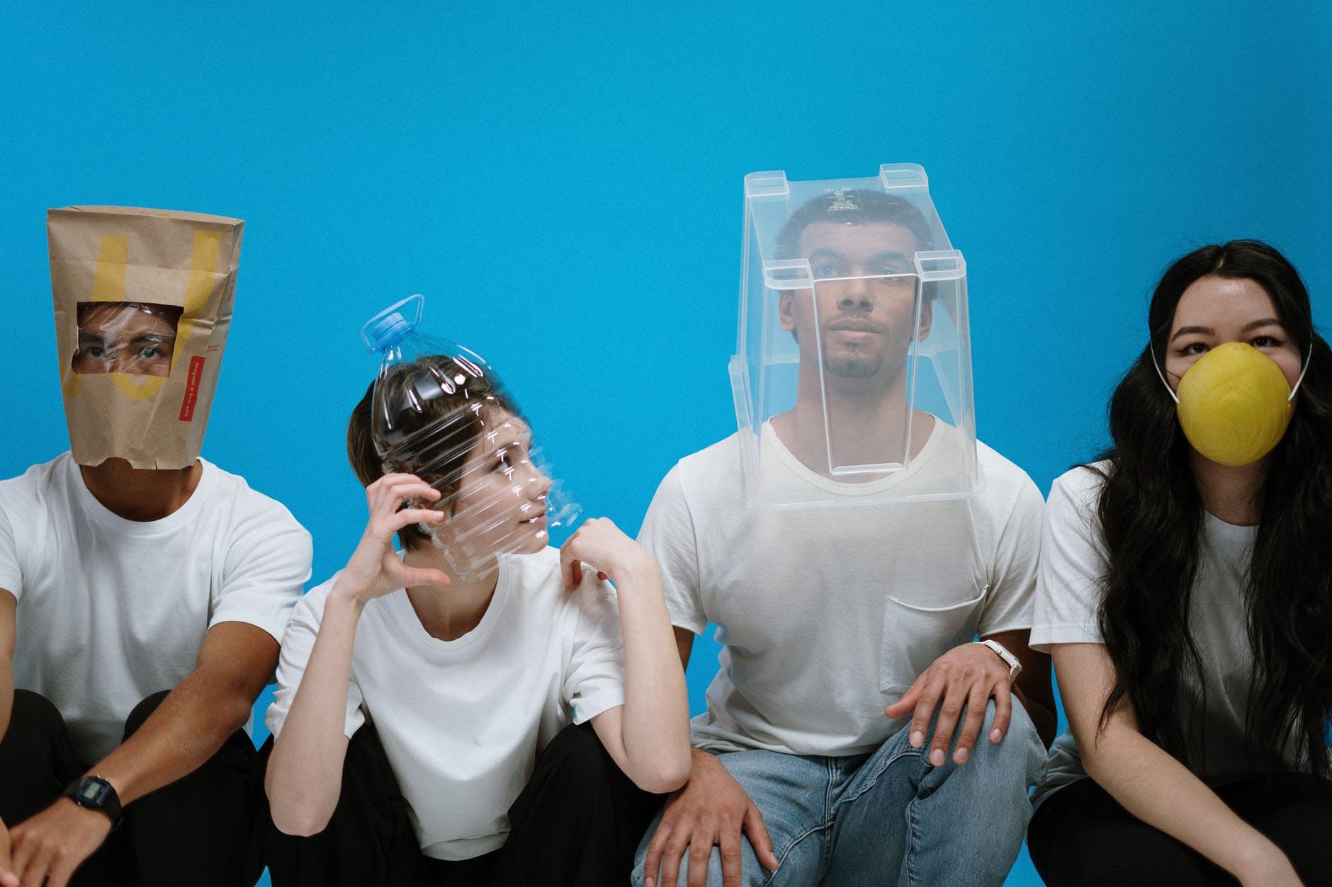 people wearing diy masks